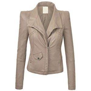 Jackets & Blazers - Lock & Love Fitted Tan Biker Jacket
